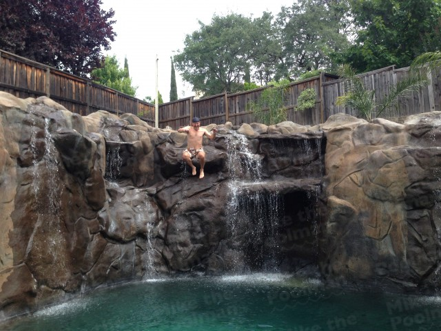 Awesome swimming pool waterfall