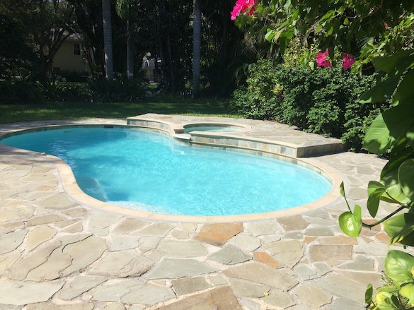 Swimming pool & stone patio