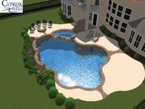 Custom pool building in cypress greater houston for 3d swimming pool design