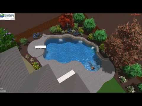 Vineyard Pools 3D - Diving Pool with raised wall and sheer falls