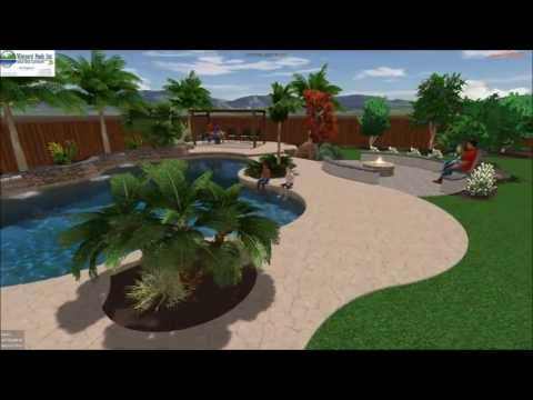 Vineyard Pools 3D - Large Corner Lot Swimming Pool - fire pit and seating area